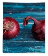 Red Onions Fleece Blanket by Nailia Schwarz