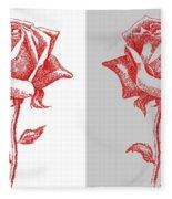 2 Red Roses Poster Fleece Blanket