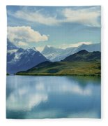 Reflection Of Clouds And Mountain Fleece Blanket