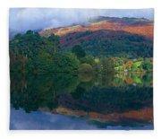Reflection Of Hills In A Lake Fleece Blanket