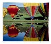 Reflection Of Hot Air Balloons Fleece Blanket