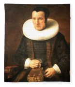 Rembrandt's An Old Lady With A Book Fleece Blanket