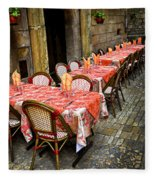 Restaurant Patio In France Fleece Blanket