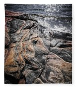 Rock Formations At Georgian Bay Fleece Blanket