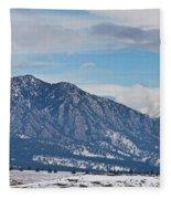 Rocky Mountains Flatirons And Longs Peak Panorama Boulder Fleece Blanket