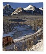 Rocky Mountains In Winter Fleece Blanket