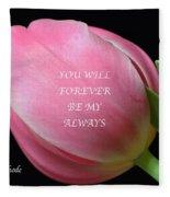 Romantic Pink Tulip Fleece Blanket