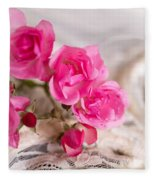 Roses And Lace Fleece Blanket