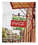 Royal Pharmacy Soda Sign Fleece Blanket