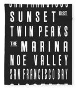 San Francisco City Subway Sign Fleece Blanket