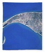 Satellite View Of Cape Cod National Fleece Blanket