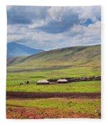 Savannah Landscape In Tanzania Fleece Blanket