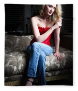Sexy Blond Sitting Fleece Blanket
