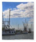 Shrimp Boats On Shem Creek Fleece Blanket