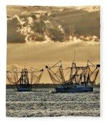 2 Shrimper Going To Sea Fleece Blanket