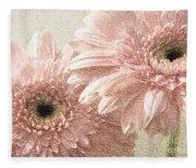 2 Silver Pink Painterly Gerber Daisies Fleece Blanket