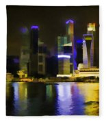 Singapore Skyline As Seen From The Pedestrian Bridge Fleece Blanket