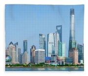Skylines At The Waterfront, Oriental Fleece Blanket