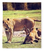 Small Lion Cubs With Mother. Tanzania Fleece Blanket