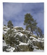 Snow Covered Cliffs And Trees II Fleece Blanket