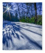Snow Covered Road Leads Through The Wooded Forest Fleece Blanket