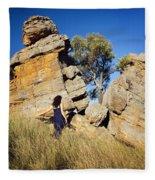 Split Rocks With Woman Fleece Blanket