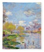 Spring By The Seine Fleece Blanket