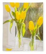 Spring Tulips Fleece Blanket