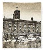 St Katherine's Dock London Sketch Fleece Blanket