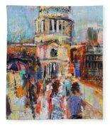 St Paul's From The Millennium Bridge Fleece Blanket