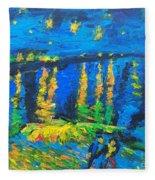 Starry Night Bridge Fleece Blanket