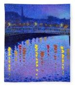 Starry Night In Dublin Fleece Blanket