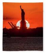 Statue Of Liberty Sunset. Nyc Harbor Fleece Blanket