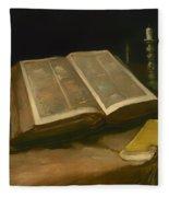 Still Life With Bible Fleece Blanket
