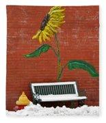Sunflower And Snow Fleece Blanket