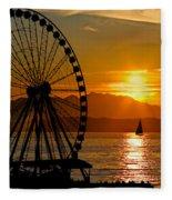 Sunset Ferris Wheel Fleece Blanket