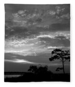 Sunset Over Colington Island On The Outer Banks Of North Carolina Fleece Blanket