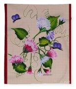 Sweet Peas And Butterflies Fleece Blanket