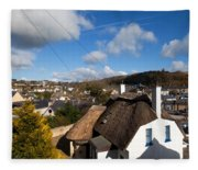 Thatched Cottages Near Dunmore Strand Fleece Blanket