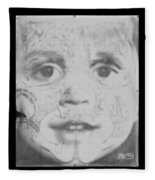 The Face In Black And White Fleece Blanket