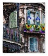 The French Quarter During Mardi Gras Fleece Blanket