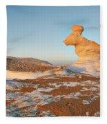 The Rabbit Stone Formation In White Desert Fleece Blanket