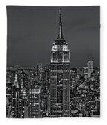 Top Of The Rock Bw Fleece Blanket