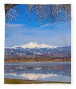 Twin Peaks Longs And Meeker Lake Reflection Fleece Blanket