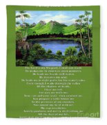 Twin Ponds And 23 Psalm On Green Fleece Blanket