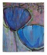 Two Blue Poppies Fleece Blanket