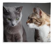 Two Cats Fleece Blanket