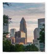 Uptown Charlotte North Carolina Cityscape Fleece Blanket