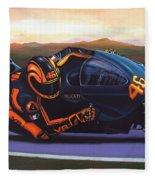 Valentino Rossi On Ducati Fleece Blanket