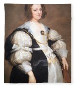 Van Dyck's Lady With A Fan Fleece Blanket